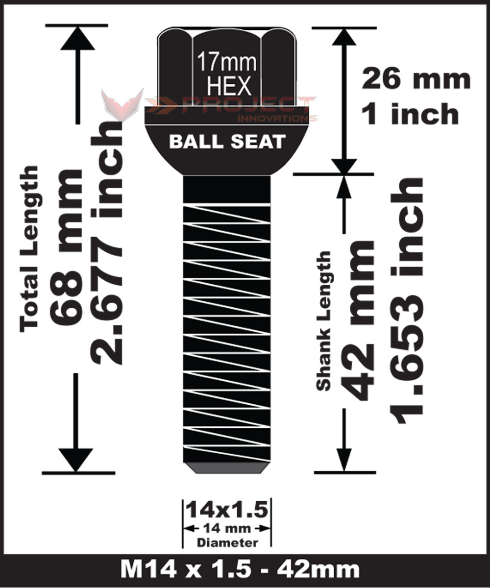10pcs Long Extended Bolt Black Ball Seat Fit Audi (M) M14